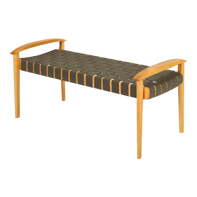 American-Made Maple Bench With Woven Seat by Tom Ghilarducci For Sale