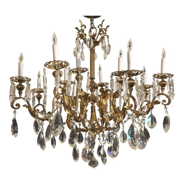 20th Century Hand Cut Lead Crystal Chandelier For Sale