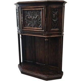 French Antique Gothic Oak Vestry Cabinet Server For Sale