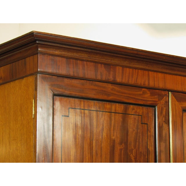 Brown 19th-C. Regency Inlaid Linen Press For Sale - Image 8 of 9