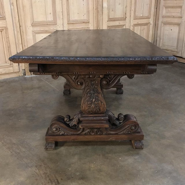 Antique Italian Renaissance Walnut Desk - Dining Table For Sale In Baton Rouge - Image 6 of 11