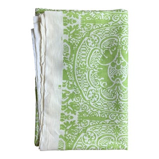 Quadrille Veneto Hand-Printed Lime Linen Fabric For Sale