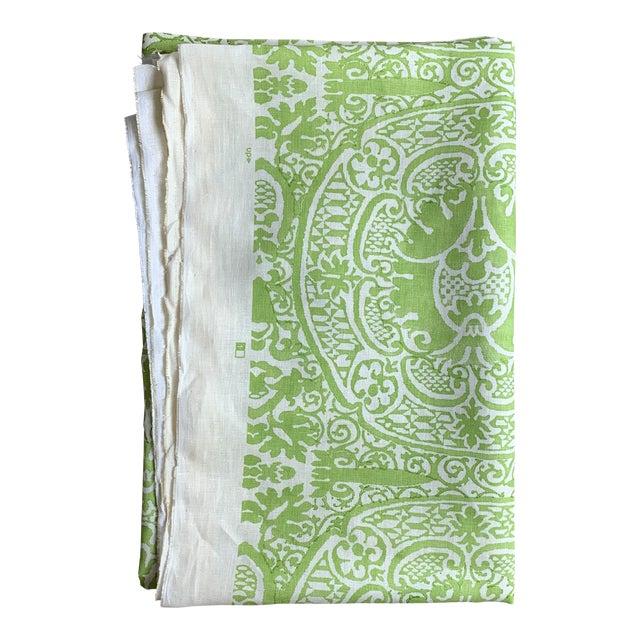 Quadrille Veneto Hand-Printed Lime Linen Fabric For Sale