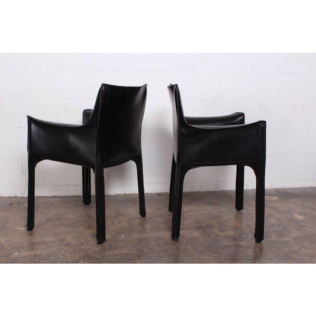Set of Four Cab Armchairs by Mario Bellini for Cassina For Sale In Dallas - Image 6 of 11