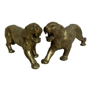Vintage Brass Tigers - a Pair For Sale