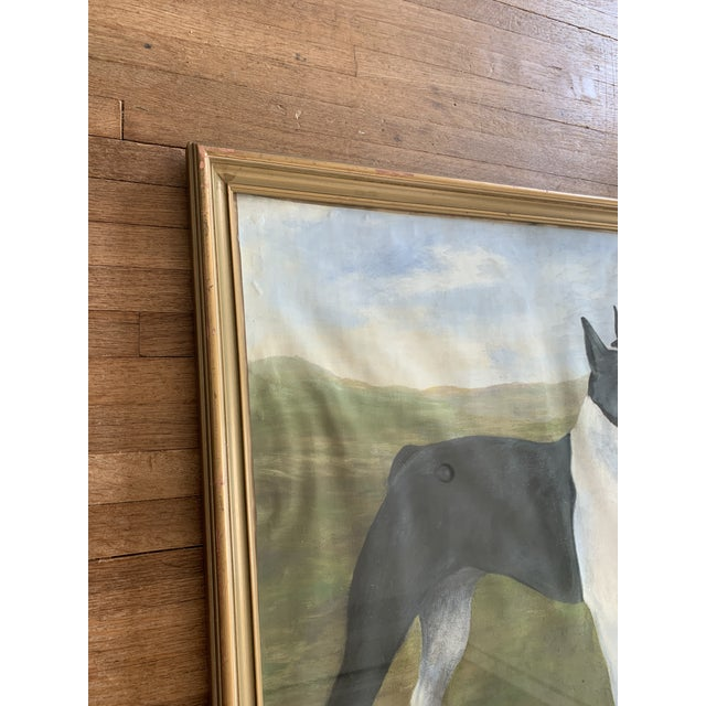 This original dog painting is framed and behind glass. It appears to be a boxer portrait. Most likely an oil painting....