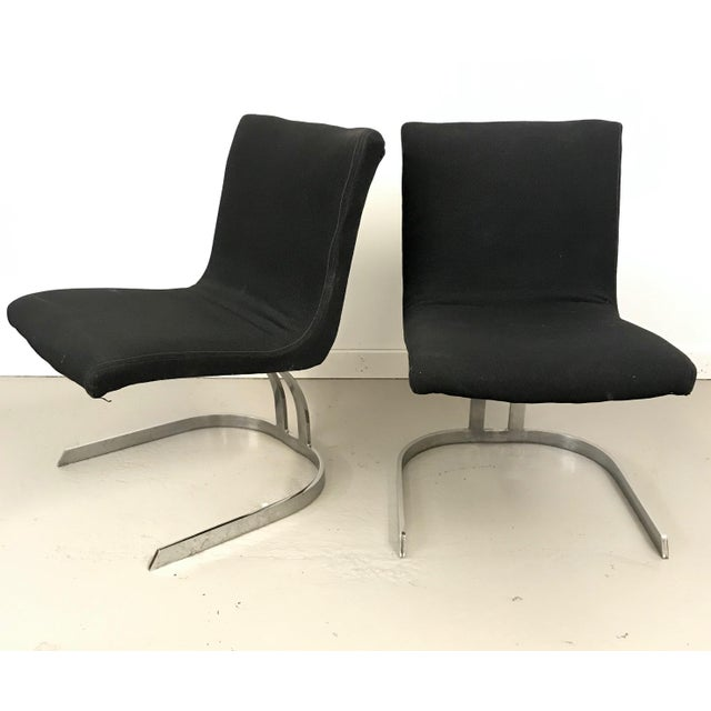 Black Pair of Cantilevered Scimitar Base Chairs For Sale - Image 8 of 8