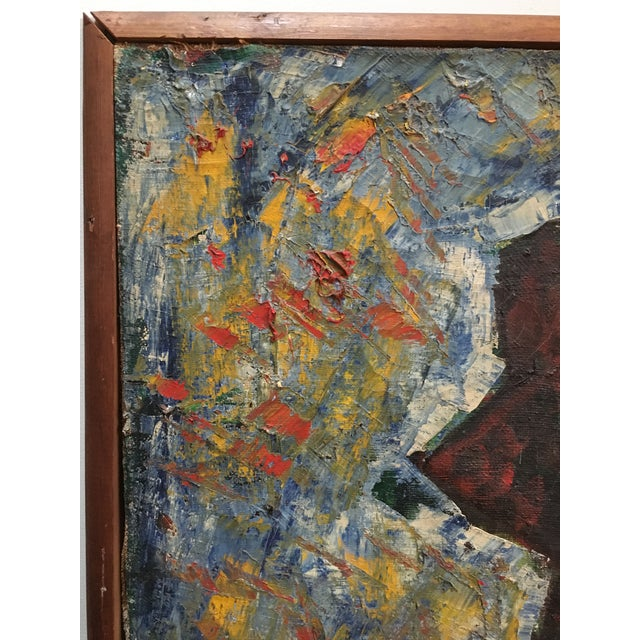"Huge Vintage Mid Century Russian Art Deco Cubist Abstract Oil Painting 1965 50"" X 36"" For Sale - Image 10 of 13"