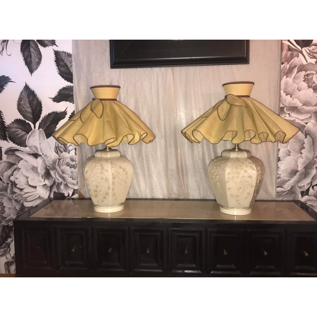 Ceramic Mid Century Chapman Style Art Deco Chinoiserie Table Lamp With Shades - a Pair For Sale - Image 7 of 7