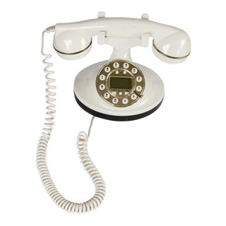 Hollywood Regency Style Vintage Retro White Telephone Works With Gold Tone Trim For Sale