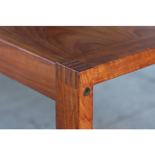 1970s Long Rectangular Cocktail Table in Solid Teak For Sale - Image 5 of 11