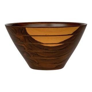 Peter Petrochko Carved Padauk and Ziricote Bowl For Sale