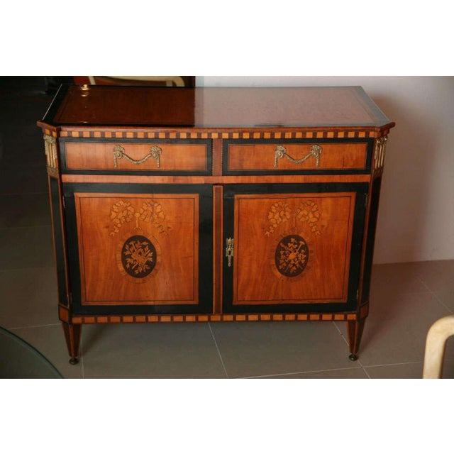 Neoclassical Dutch Neoclassic Sycamore, Ebonized Marquetry Credenza For Sale - Image 3 of 9