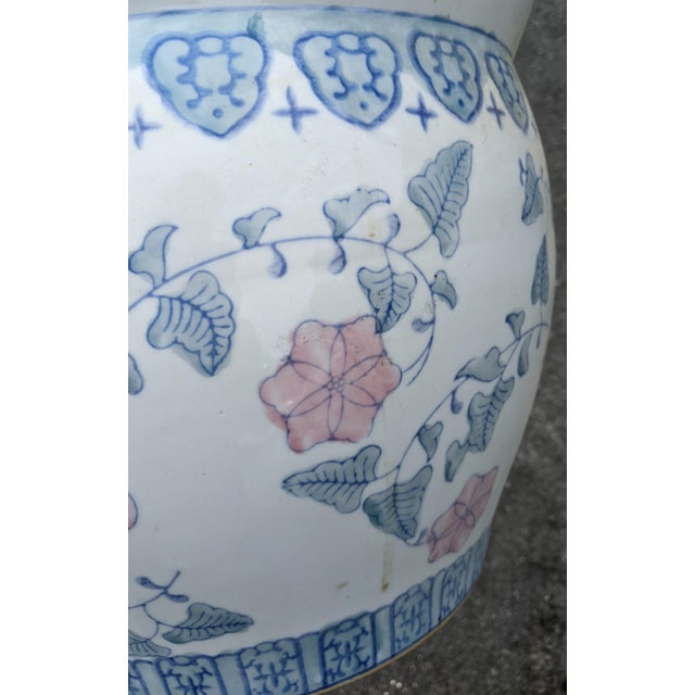 20th C Chinese Painted & Glazed Porcelain Roses Floral Fish Bowl Planter For Sale - Image 9 of 11