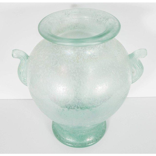 1980s Handblown Murano Glass Vase With Scrolled Arms in the Manner of Karl Springer For Sale - Image 5 of 8