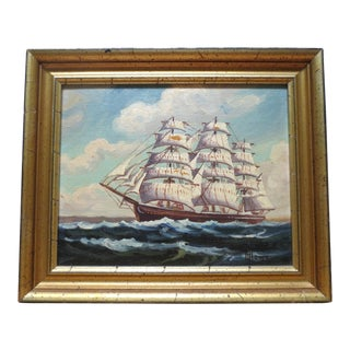 "Early 20th Century Antique Harry Hambro Howe ""Lightning"" Ship Oil Painting For Sale"
