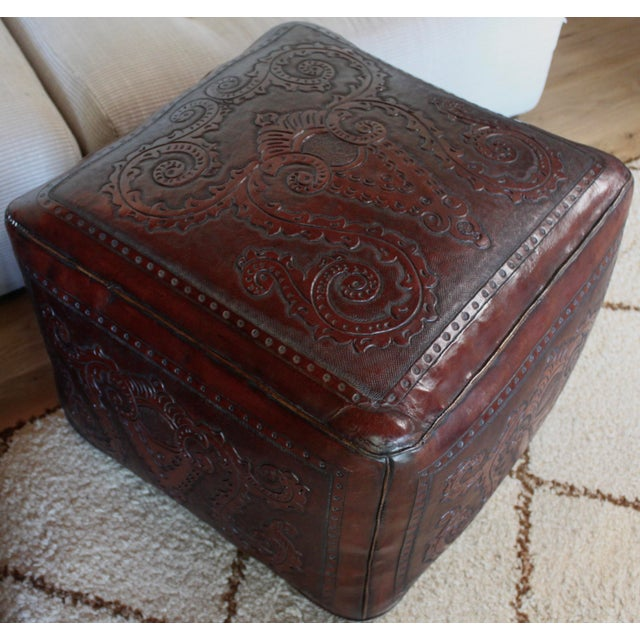 Extra Large Vintage Hand Tooled Peruvian Saddle Leather Angel Pazmino Style Ottoman For Sale In San Diego - Image 6 of 12