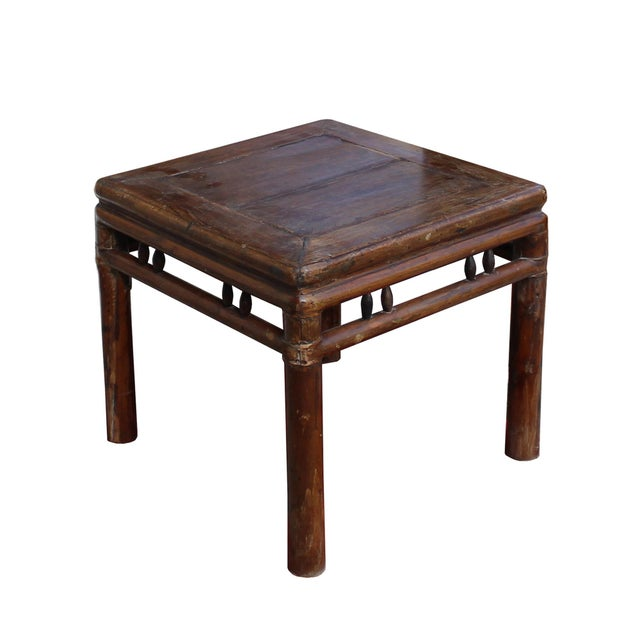 Chinoiserie Chinese Handmade Vintage Finish Square Wood Stool Table For Sale - Image 3 of 6