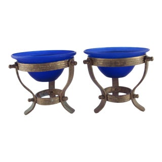 1980s Cobalt Blue Satin Glass Votives on Solid Brass Stands - a Pair For Sale
