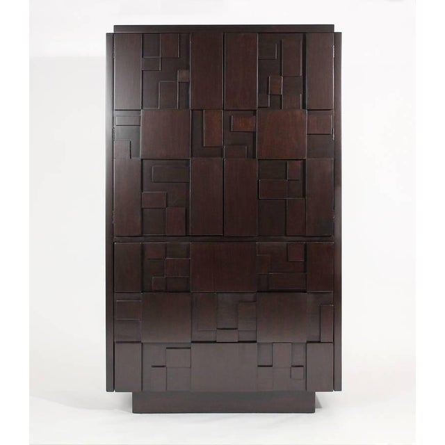 Lacquered Brutalist Tall Cabinet or Chest by Lane Furniture For Sale - Image 10 of 11