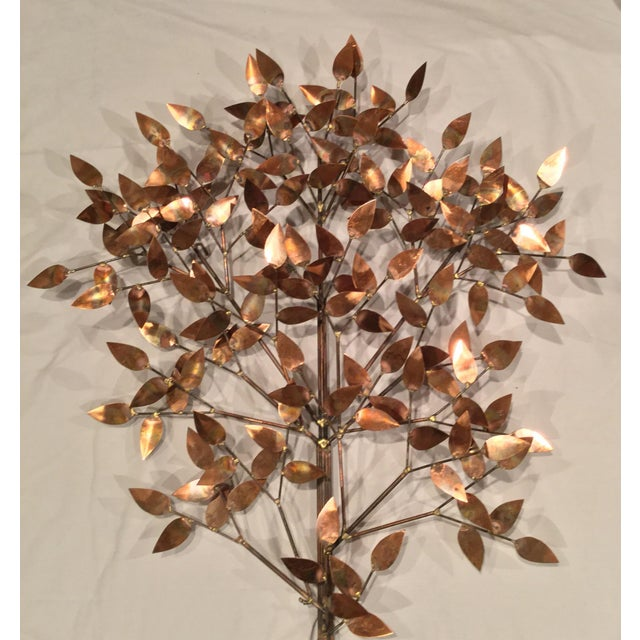 Copper Signed Curtis Jere Copper Tree Wall Sculpture For Sale - Image 7 of 7