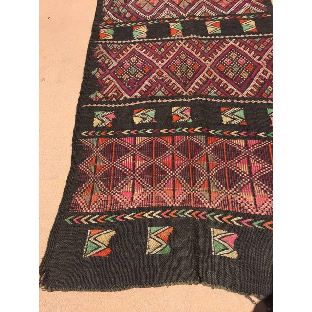 Vintage Moroccan Nomadic rug, black camel hair with wool and cotton embroidered geometrical Modernist designs. Mid-Century...
