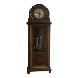 Late 19th Century Old Grandfather Solid Walnut Clock For Sale