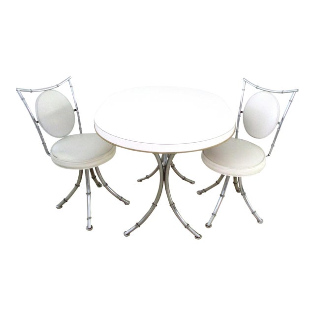 1950s Hollywood Regency White Design Dinette - 3 Piece Set For Sale