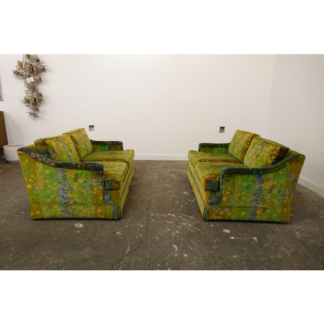 This is a great pair of midcentury loveseats and they are even better because they are covered in vintage velvet Jack...