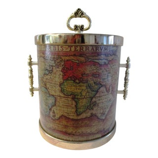 1970s Old World Map Ice Bucket For Sale