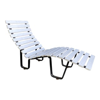 Mid Century White Wood Slat Chaise Lounger For Sale