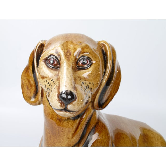 Italian Italian Brown Glazed Ceramic Dog For Sale - Image 3 of 9