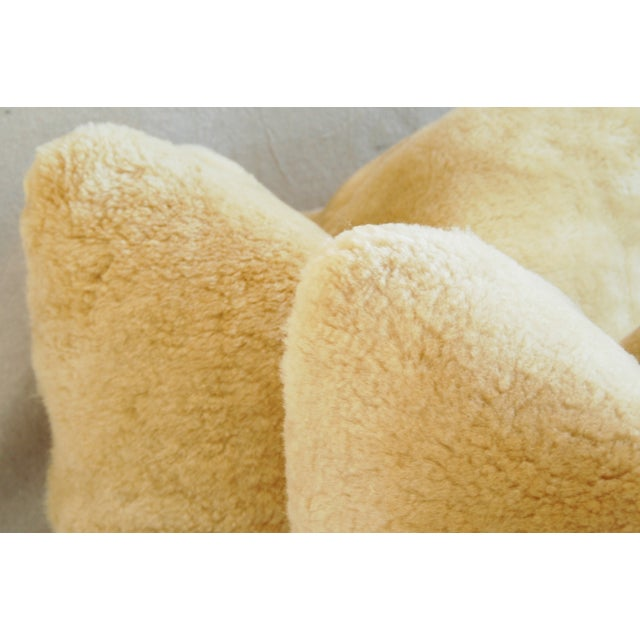 Plush Rich Golden Lambswool Pillows - Pair - Image 6 of 8