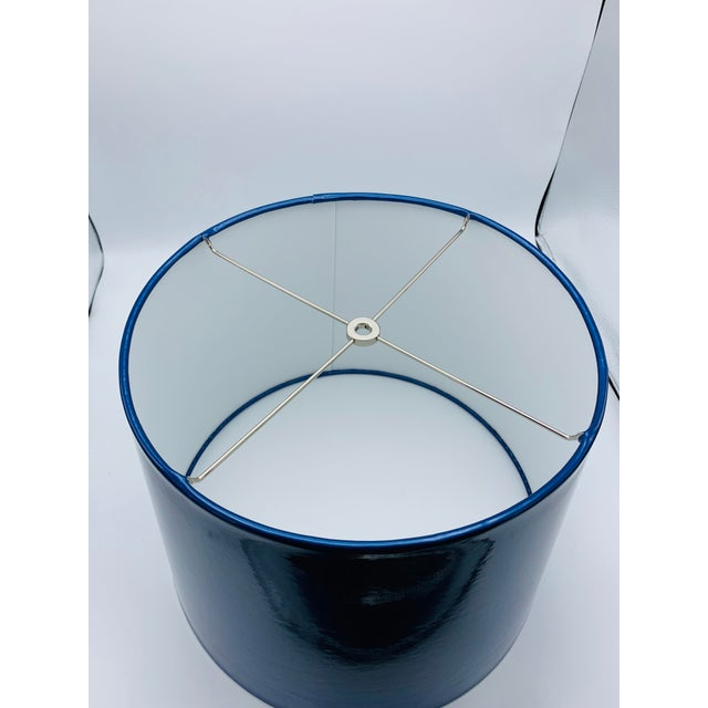 Abstract Custom Metallic Blue Vinyl Lampshade For Sale - Image 3 of 8