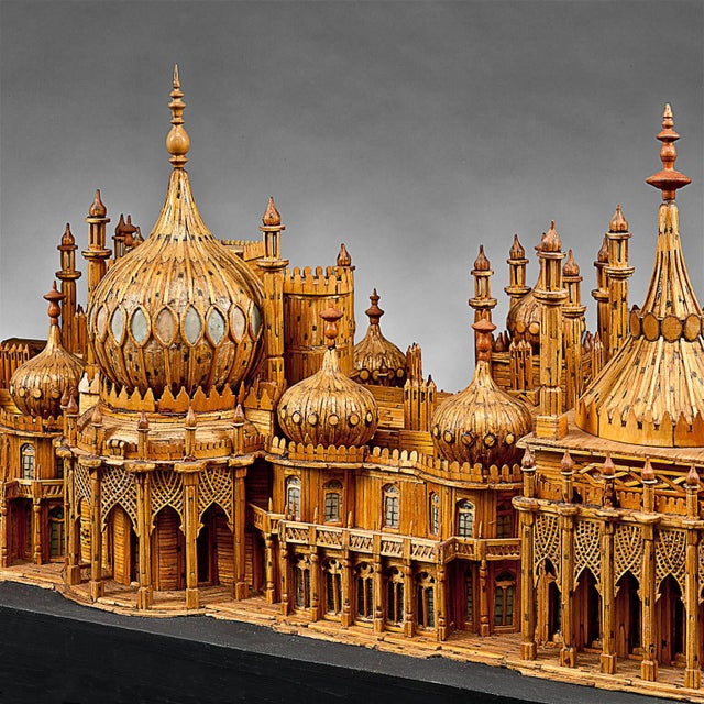 Wood Royal Brighton Pavilion Matchstick Architectural Model by Bernard Martell For Sale - Image 7 of 13