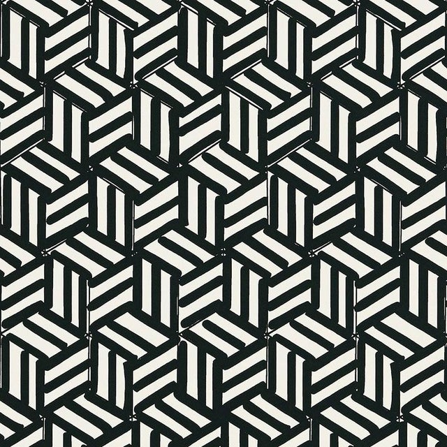 Contemporary Schumacher Tumbling Blocks Stripes Geometric Wallpaper in Black - 2-Roll Set (9 Yards) For Sale - Image 3 of 3