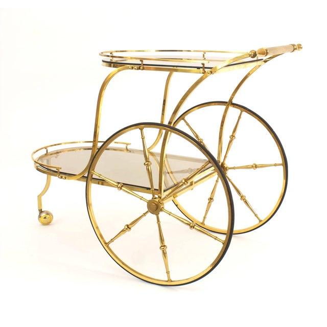 Mid-Century Modern Italian Mid-Century Brass Bar Cart For Sale - Image 3 of 3