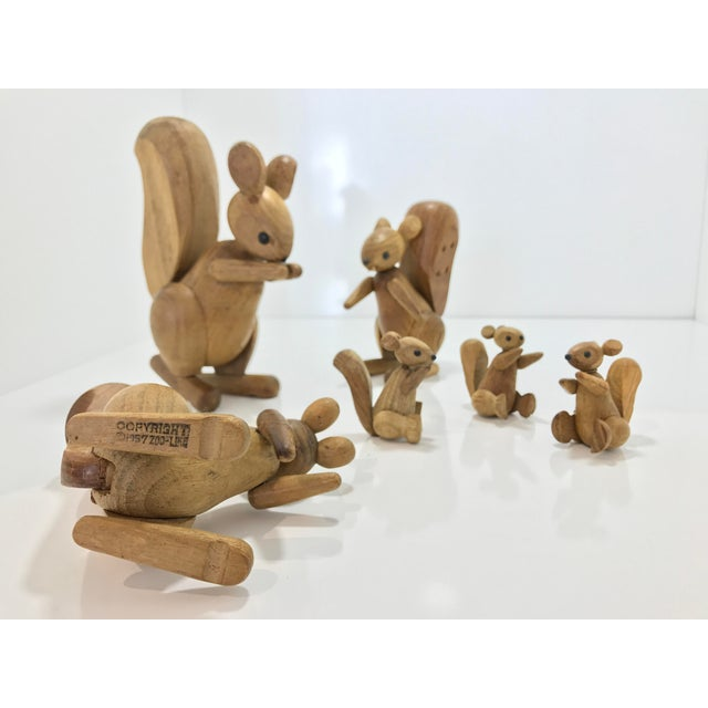 Vintage Wooden Family of Squirrels - Set of 6 - Image 4 of 4