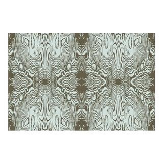 Faux Bois Burnt Olive/Morning Mist Linen Cotton Fabric, 3 Yards For Sale