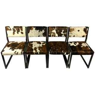 Pony Skin Blackened Steel Frame Dining Chairs - Set of 4 For Sale