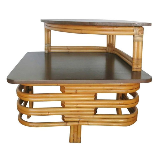 Boho Chic Restore Corner Side Table Stacked Rattan Two-Tier w/ Mahogany Top and Legs For Sale - Image 3 of 7