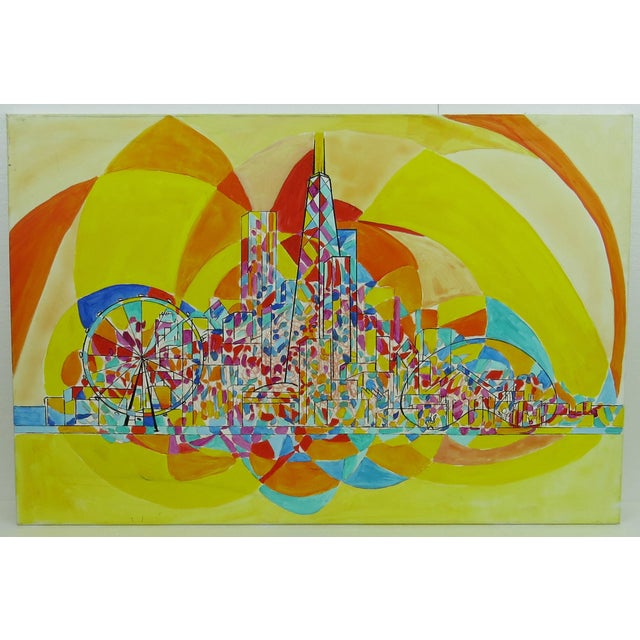 2013 Pia Bacca Post Impressionist Oil on Canvas of Chicago Cityscape For Sale - Image 9 of 9