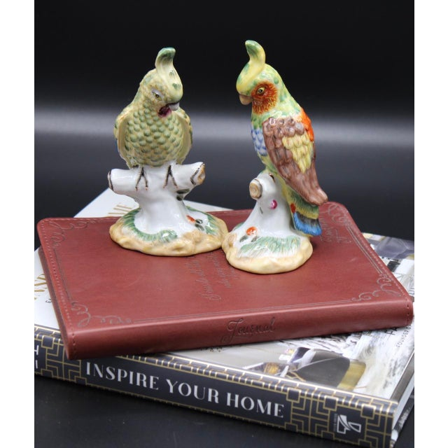 Yellow Mid-20th Century Chinese Export Ceramic Parrot Figurines - a Pair For Sale - Image 8 of 11
