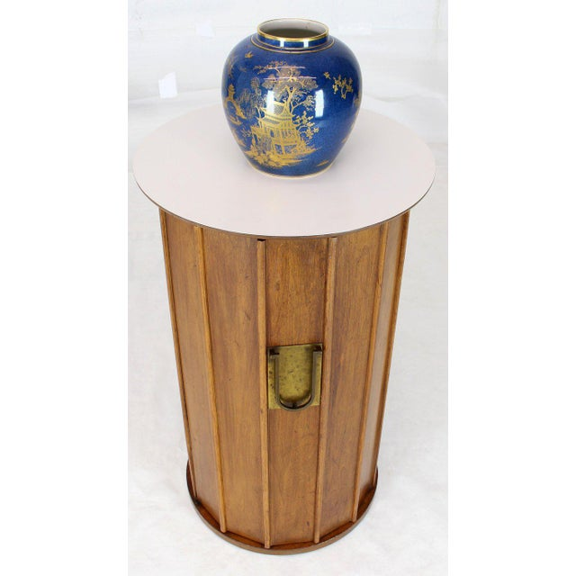 Brass Round Cylinder Shape Pedestal Bar Cabinet Storage Cabinet With Brass Hardware For Sale - Image 7 of 12