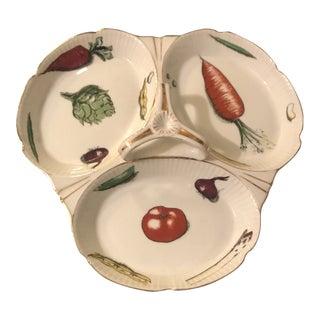 Vintage French Crudite Porcelain Platter With Handle For Sale