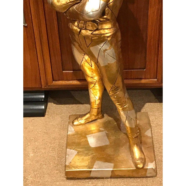 Mid 20th Century Hollywood Regency Standing Gold and Silvered Harlequin Sculpture For Sale - Image 5 of 12