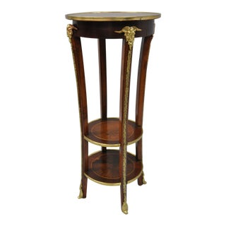 French Regency Neoclassical Style Bronze Rams Head Round Inlaid Pedestal Table