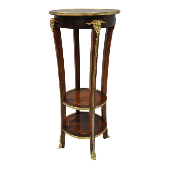 French Regency Neoclassical Style Bronze Rams Head Round Inlaid Pedestal Table For Sale