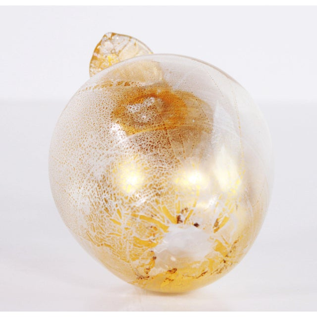 Vintage Murano Art Glass Gold Fleck Apple Paperweight For Sale In Providence - Image 6 of 7