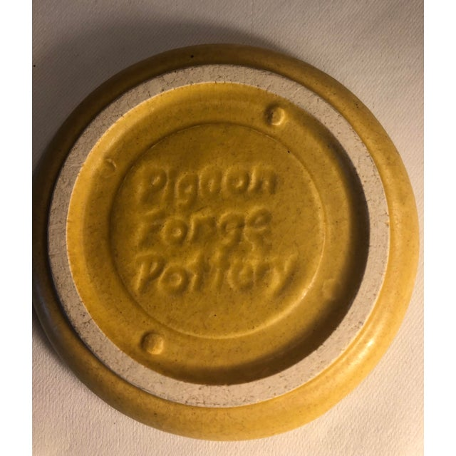Clay Pigeon Forge Pottery Yellow Coasters-Ashtrays Old Buttermold - Set of 4 For Sale - Image 7 of 13